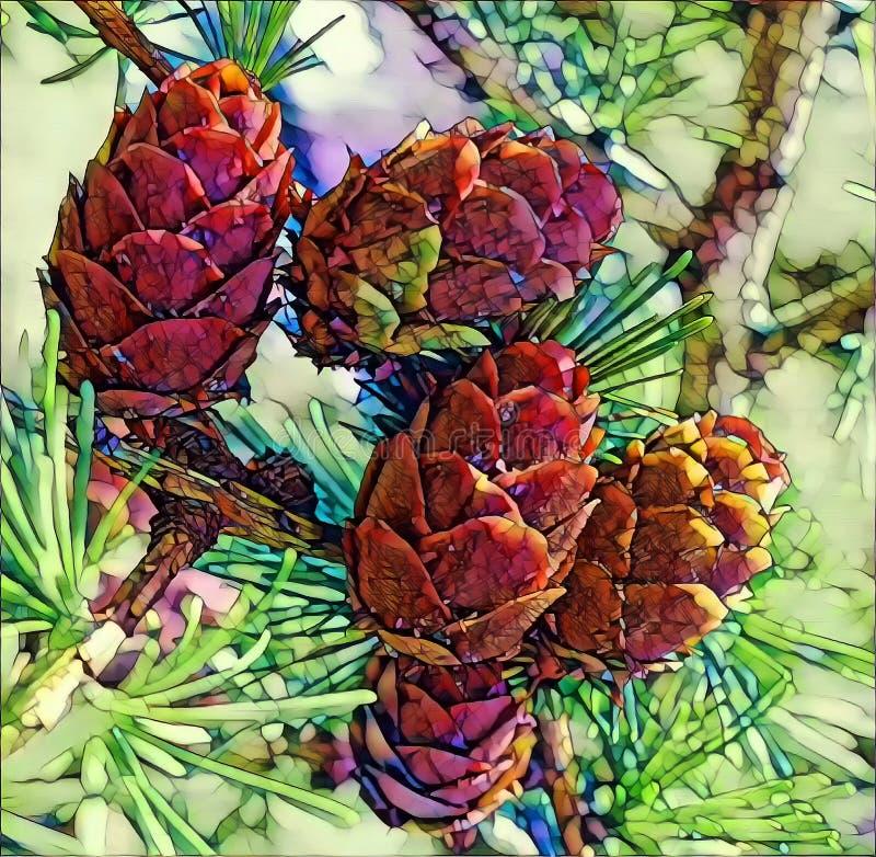Fotografia artística de cones verdes em larch tree branch sob luz solar no distrito de Vladimir imagens de stock
