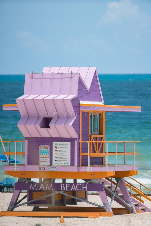 Fotografia art deco ratownika wierza na Miami plaży FL zdjęcia royalty free