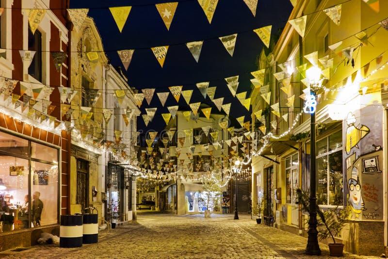 fotografia brukowiec ulica w gromadzkim Kapana, miasto Plovdiv, Bułgaria obraz stock