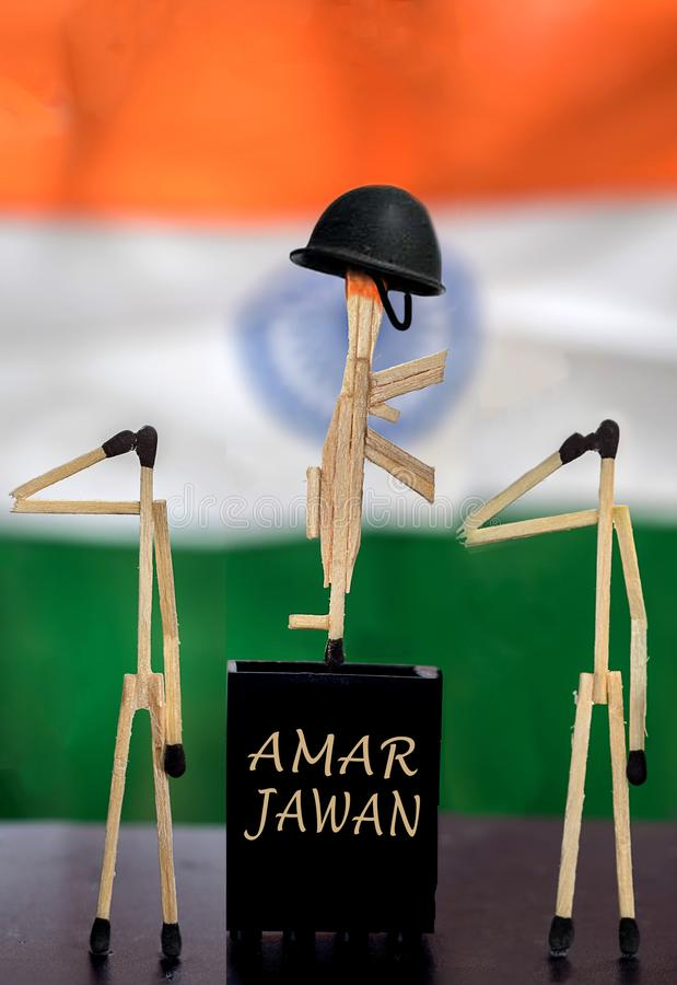 Fotografia creativa di Amar Jawanusing Matches Stick immagine stock