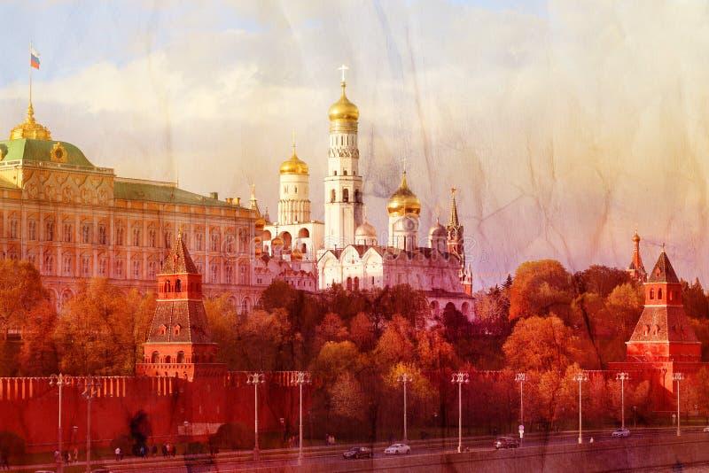 Fotografia czerwony wierza Moskwa Kremlin i kościół zdjęcie royalty free
