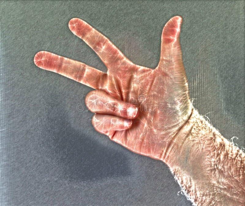 Fotografia da aura de Kirlian de uma m?o masculina humana de incandesc?ncia que mostra s?mbolos e a mostra diferentes das m?os ilustração stock