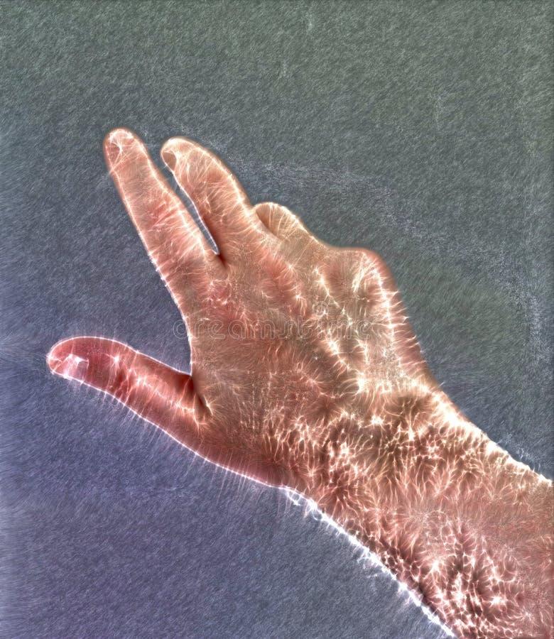 Fotografia da aura de Kirlian de uma m?o masculina humana de incandesc?ncia que mostra s?mbolos e a mostra diferentes das m?os ilustração do vetor