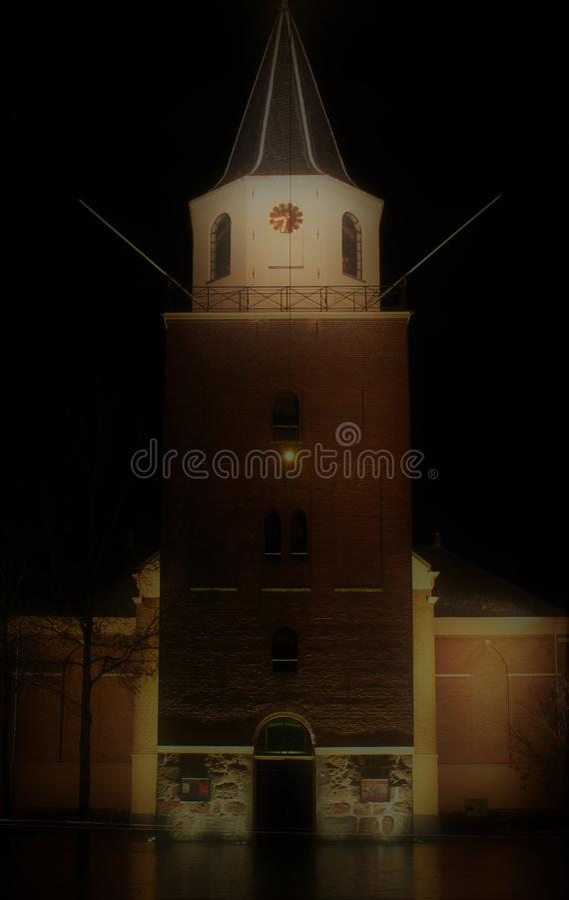 Fotografia da noite da igreja fotos de stock