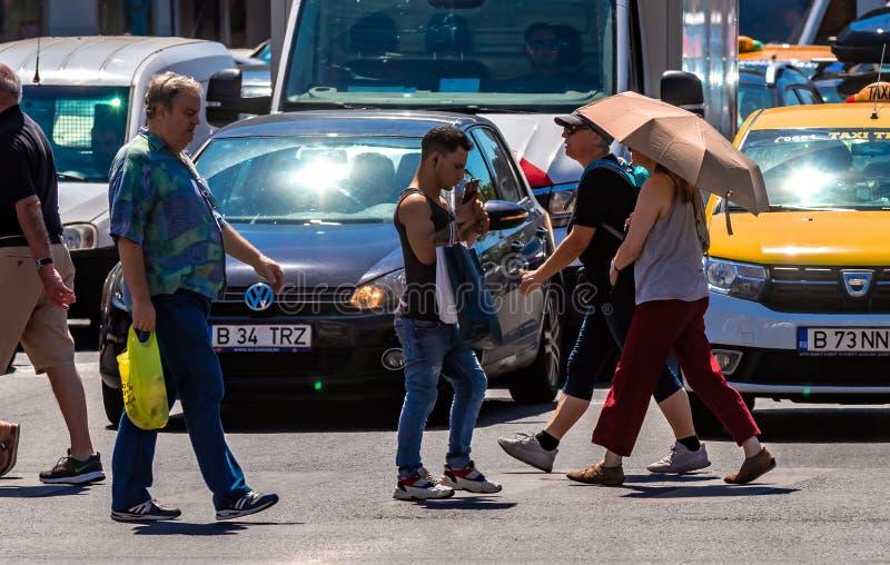 Fotografia da rua de Bucareste - do centro fotografia de stock
