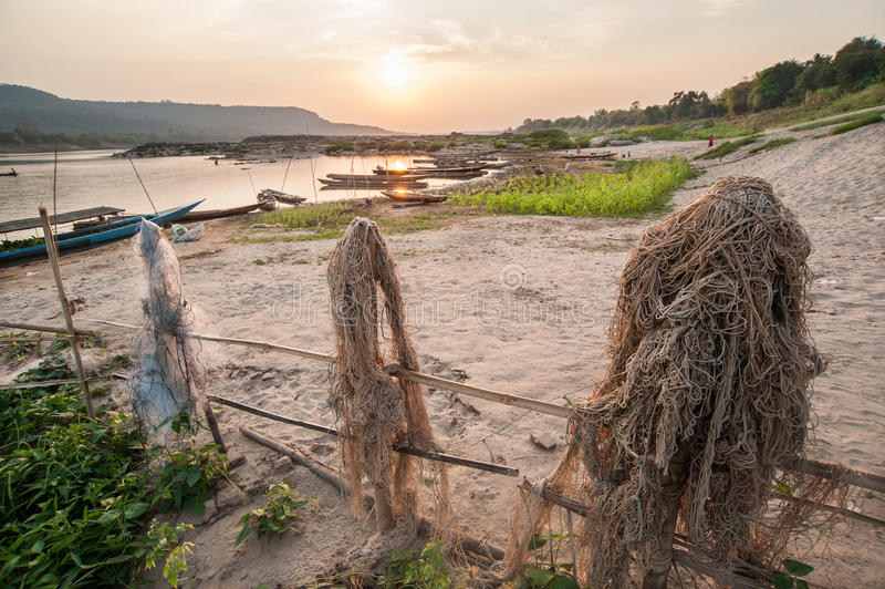 Fotografia de barcos de pesca no Mekong River fotografia de stock
