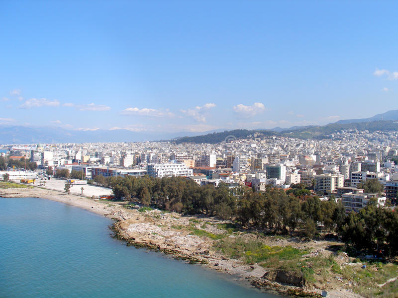 Fotografia dell'aria, Patrasso, Grecia fotografia stock libera da diritti