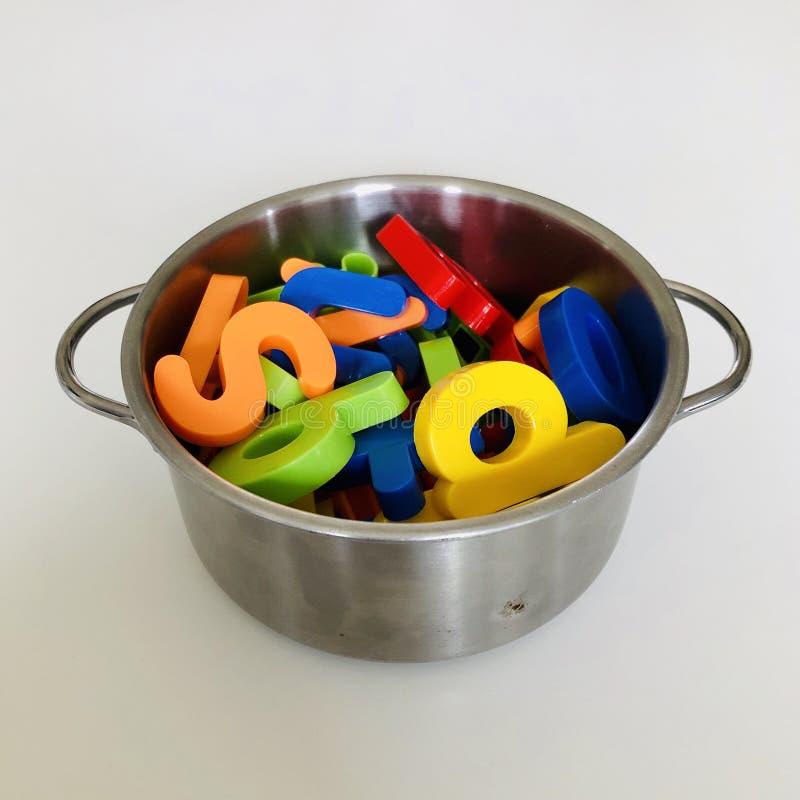 Fotografia di concetto della minestra della lettera fotografia stock