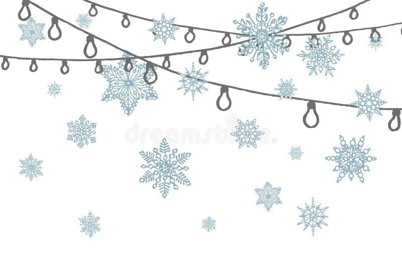 Fotografia di garland disegnata a mano con sfondo con sagoma di fiocchi di neve Sketch sfondo nero e bianco royalty illustrazione gratis