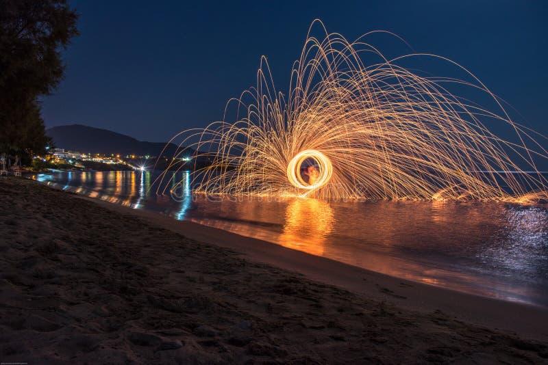 Fotografia di Steelwool in Makrus Gialos in Creta Grecia immagine stock libera da diritti