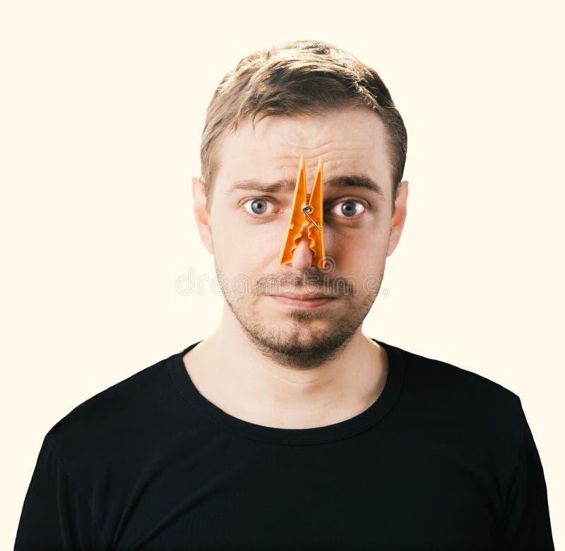 Fotografia do conceito do cheiro mau Imagem tonificada imagens de stock