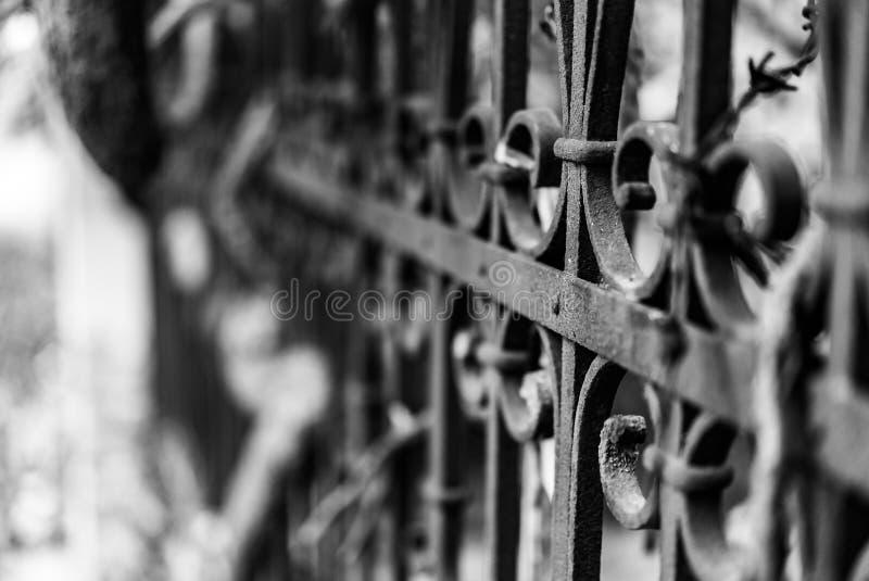 Fotografia do estilo antigo da cerca do vintage feita do ferro com beautifu imagens de stock royalty free