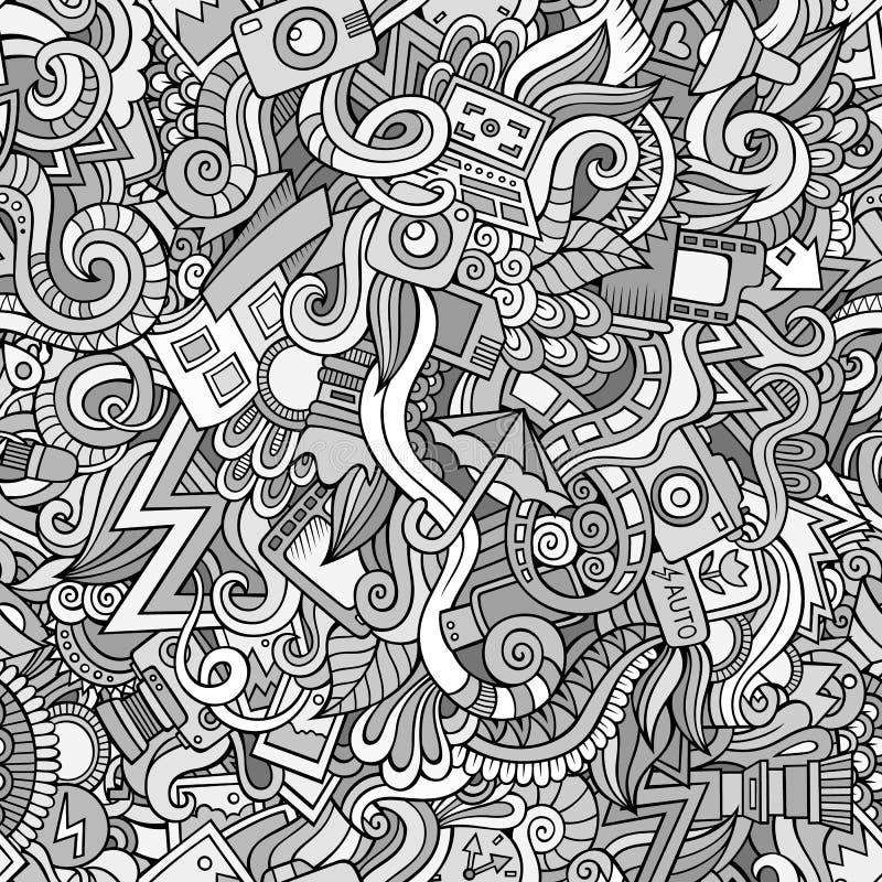 Fotografia doodles kreskówka bezszwowego wzór ilustracji