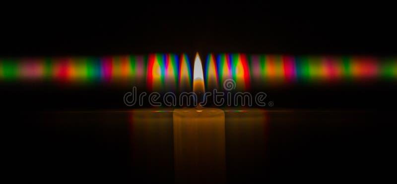 Fotografia dyfrakcyjny wzór świeczka płomienia światło, zawierający ogromną liczbę dyfrakcyjni rozkazy uzyskujący gretingiem ilustracja wektor