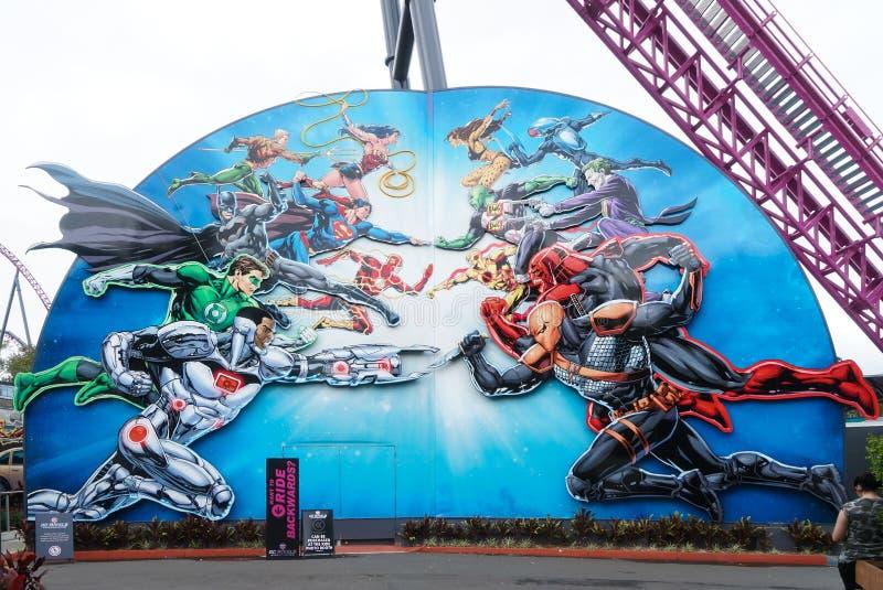 Fotografia filmu Światowy park tematyczny w Gold Coast, Australia z selekcyjną ostrością na super bohaterach od cud komiczki fotografia royalty free