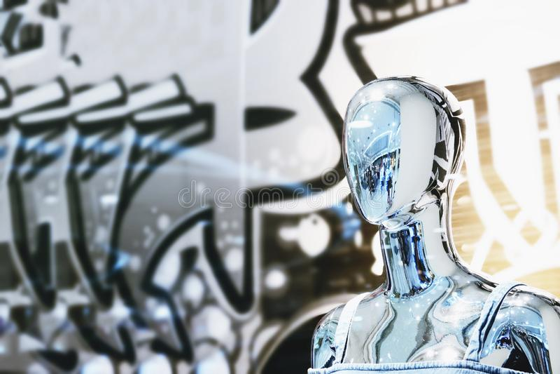 Fotografia humana borrada abstrata do retrato do manequim de Chrome fotos de stock
