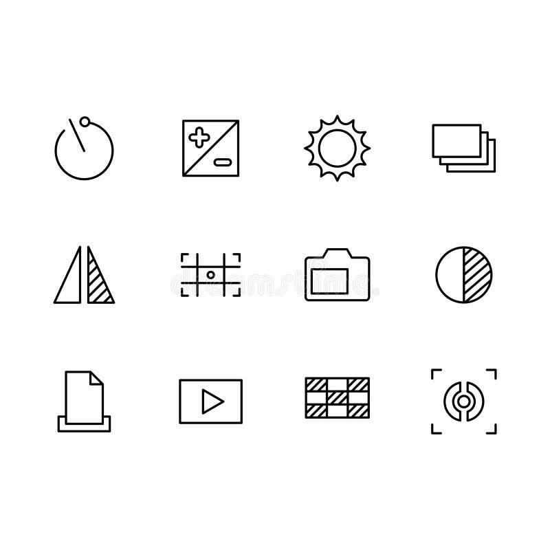Fotografia i fotografii kamera, wideo mknącej ikony prości symbole ustawiający Fotografii kamery położenia, zoom, iso, błysk, obi royalty ilustracja