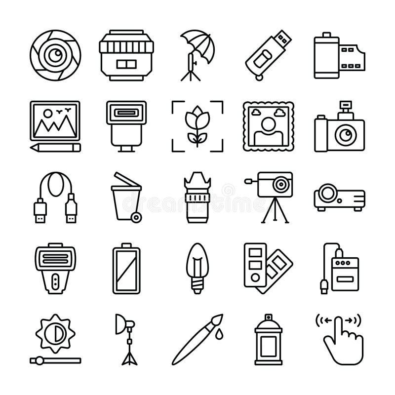 Fotografia i grafika Wykładamy Wektorową ikony paczkę ilustracja wektor