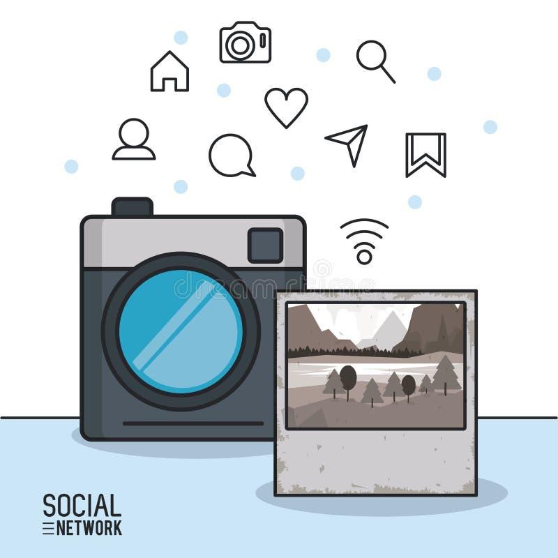 Fotografia i socjalny sieć ilustracja wektor