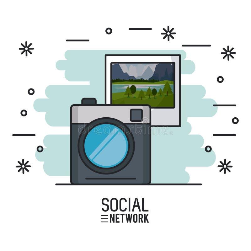 Fotografia i socjalny sieć ilustracji
