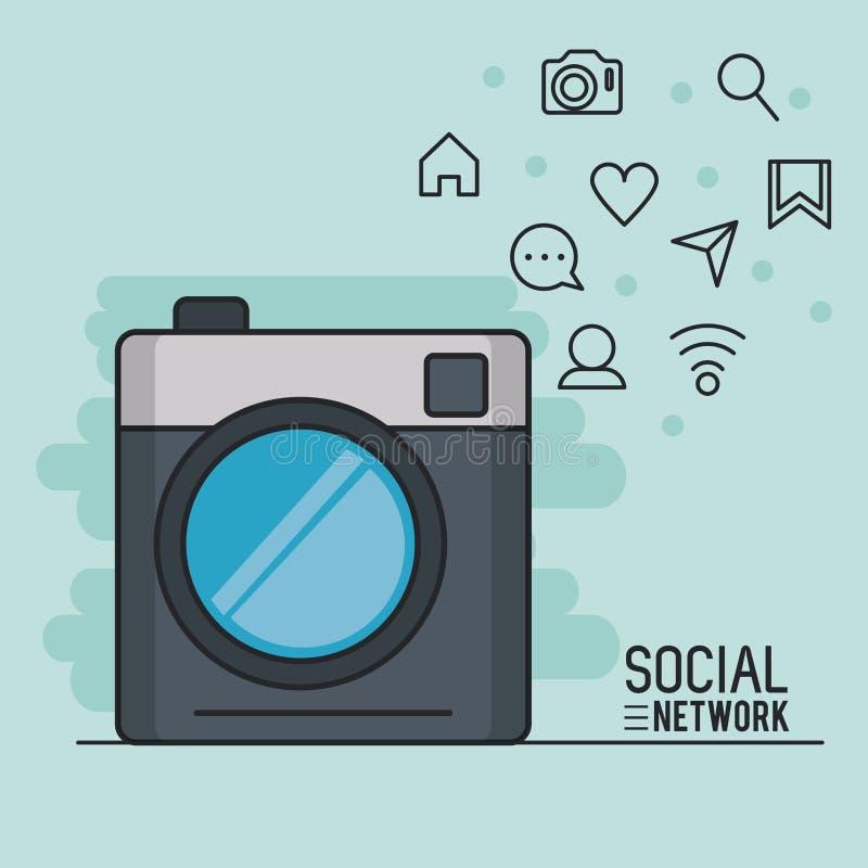 Fotografia i socjalny sieć royalty ilustracja