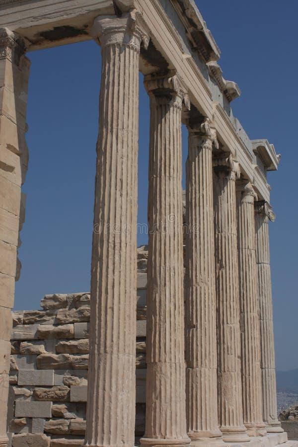 Fotografia ikonowy Erechtheion z sławnymi kariatydami, akropolu wzgórze, Ateny historyczny centrum, Attica, Grecja obrazy royalty free