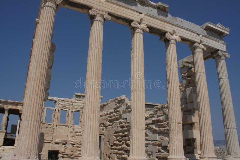 Fotografia ikonowy Erechtheion z sławnymi kariatydami, akropolu wzgórze, Ateny historyczny centrum, Attica, Grecja obrazy stock