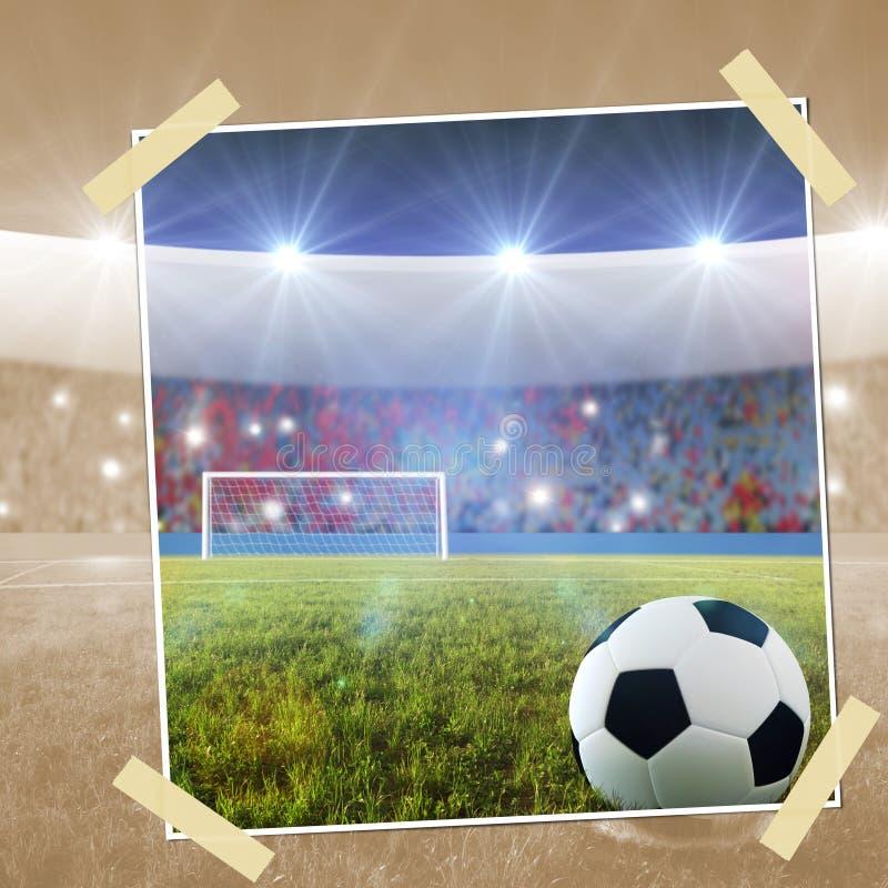 Fotografia istantanea di scossa di pena di calcio illustrazione vettoriale