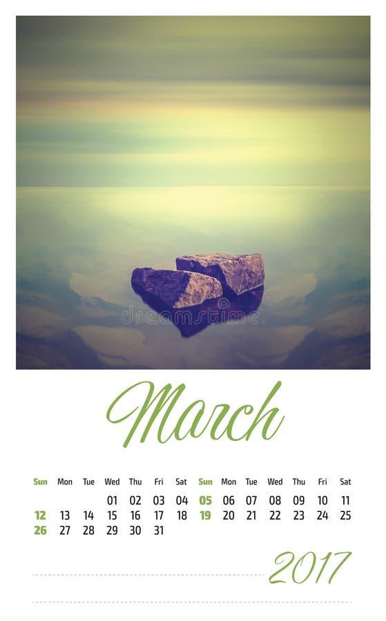 2017 fotografia kalendarz z minimalisty krajobrazem maszerujący obraz stock