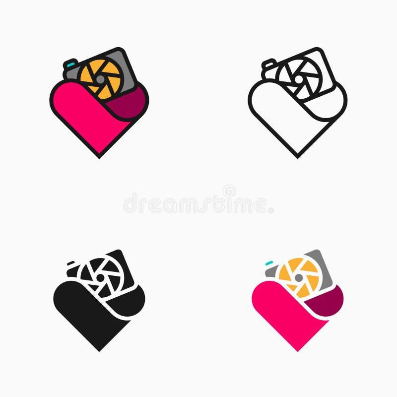 Fotografia kochanka ikona, symbol lub logo, ilustracja wektor