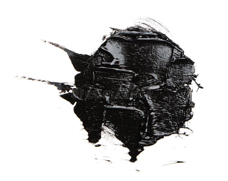 Fotografia kolorowego czerni muśnięcia uderzenia nafciana farba odizolowywająca fotografia royalty free