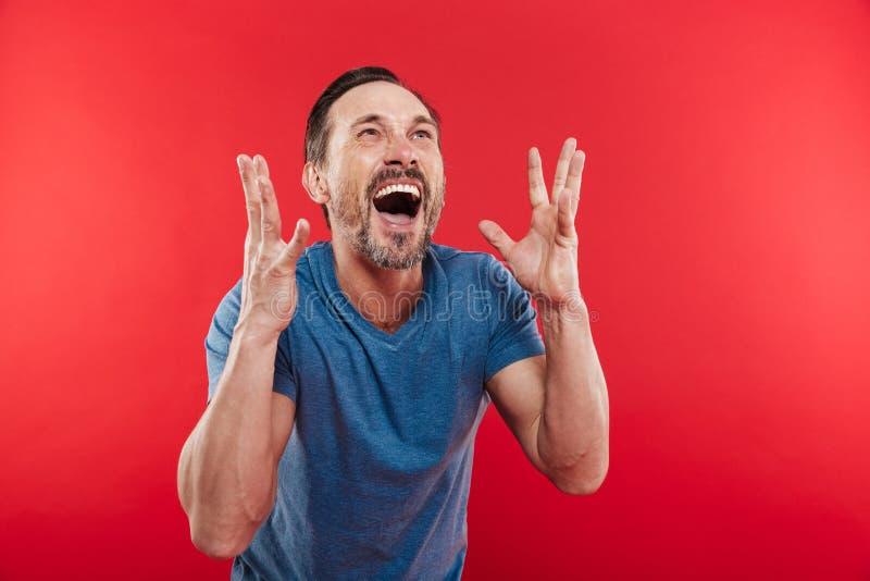 Fotografia krzyczy i raduje się z gestykulować lik ekstatyczny mężczyzna obraz stock