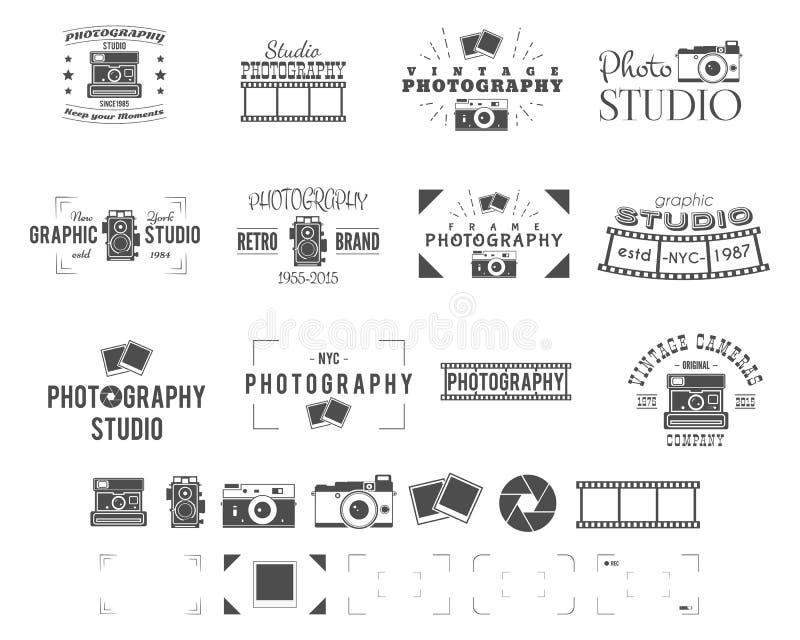 Fotografia loga szablony ustawiający Use dla fotografii studia, starego kamery wyposażenia sklepu, sklepowego etc, Fotografów sym ilustracja wektor