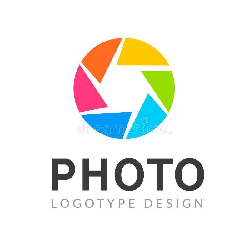 Fotografia logo szablonu nowożytny wektorowy kreatywnie symbol Żaluzja obiektywu kamery ikony projekta element royalty ilustracja