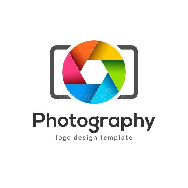 Fotografia logo szablonu nowożytny wektorowy kreatywnie symbol Żaluzja obiektywu kamery ikony projekta element ilustracji