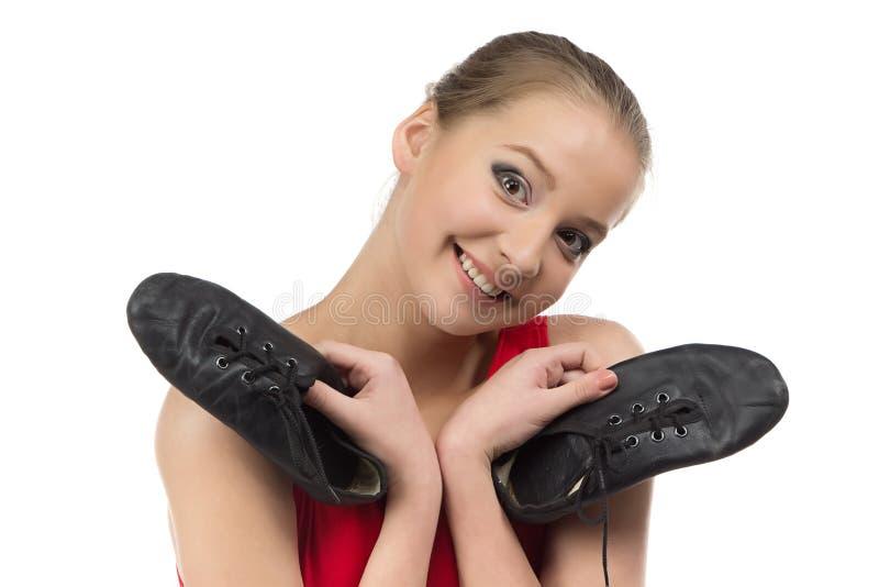 Fotografia młoda balerina i baletniczy buty fotografia royalty free