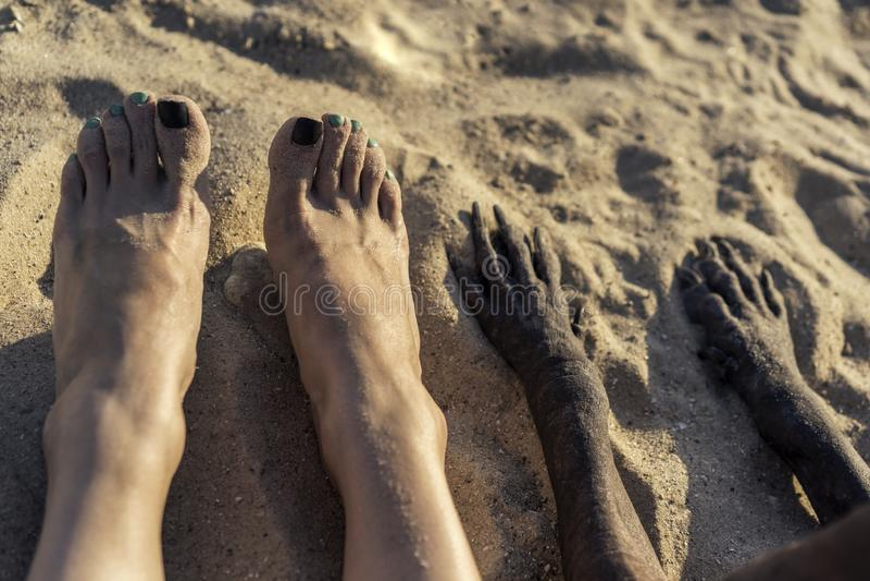 Fotografia nogi młoda Kaukaska dziewczyna i łapa pies w piasku na lecie wyrzucać na brzeg Selfi cieki zdjęcia stock
