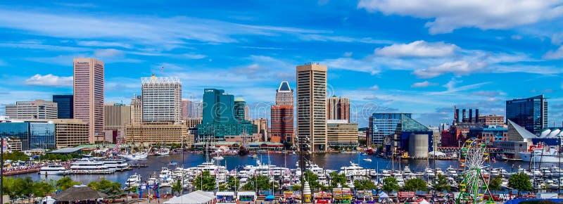 Fotografia panoramica di Baltimora dalla collina federale immagini stock libere da diritti