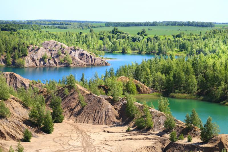 Fotografia piękni błękitni jeziora w Tula regionie Rosja zdjęcie royalty free