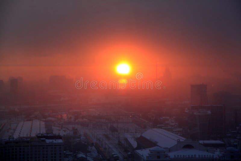 Fotografia piękny retro zmierzchu tło w Moskwa obraz stock