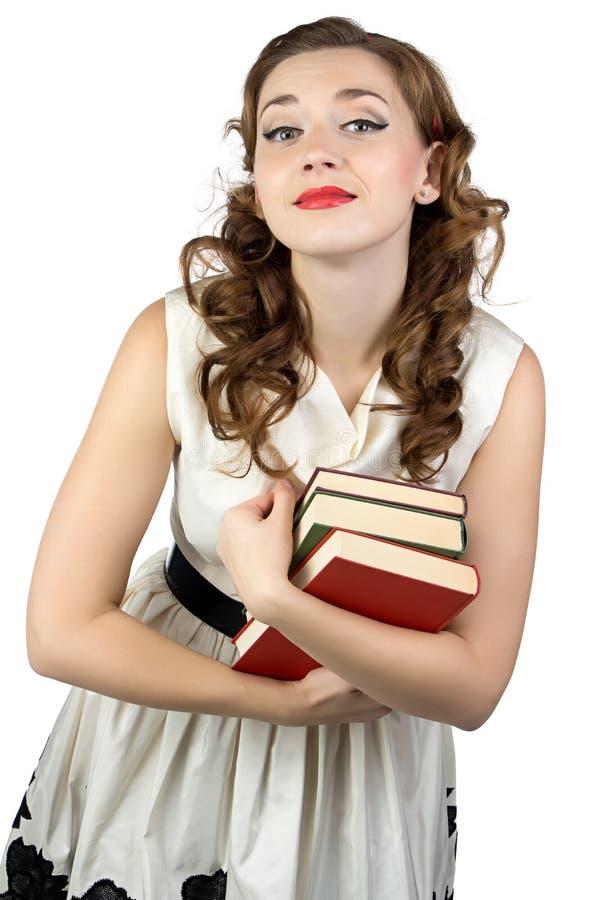 Fotografia pinup kobieta z książkami fotografia stock