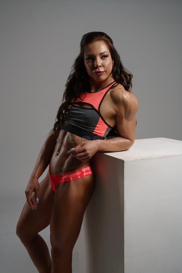 Fotografia pozuje w studiu żeński bodybuilder obraz royalty free