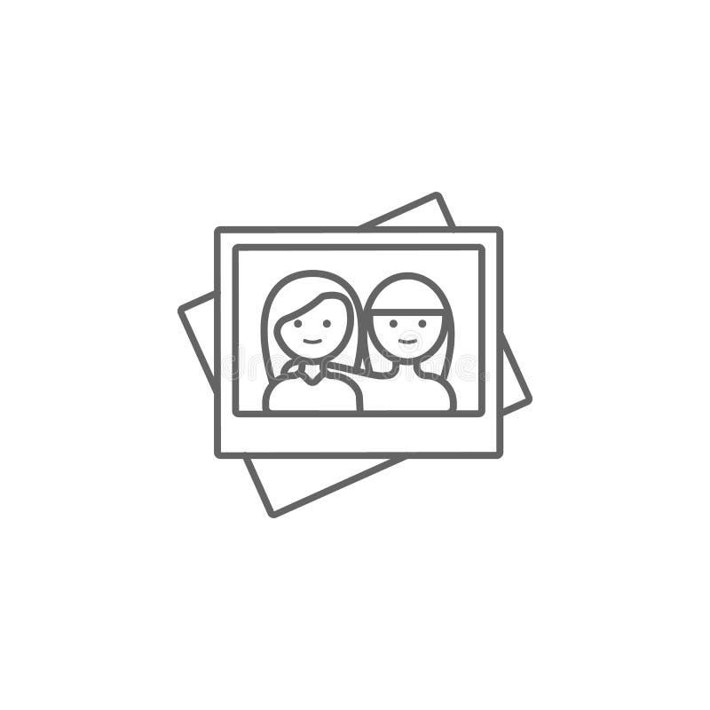 Fotografia, przyjaciel, dziewczyny ikona r Cienka kreskowa ikona dla strona internetowa projekta i rozwoju, app rozw?j premia ilustracji