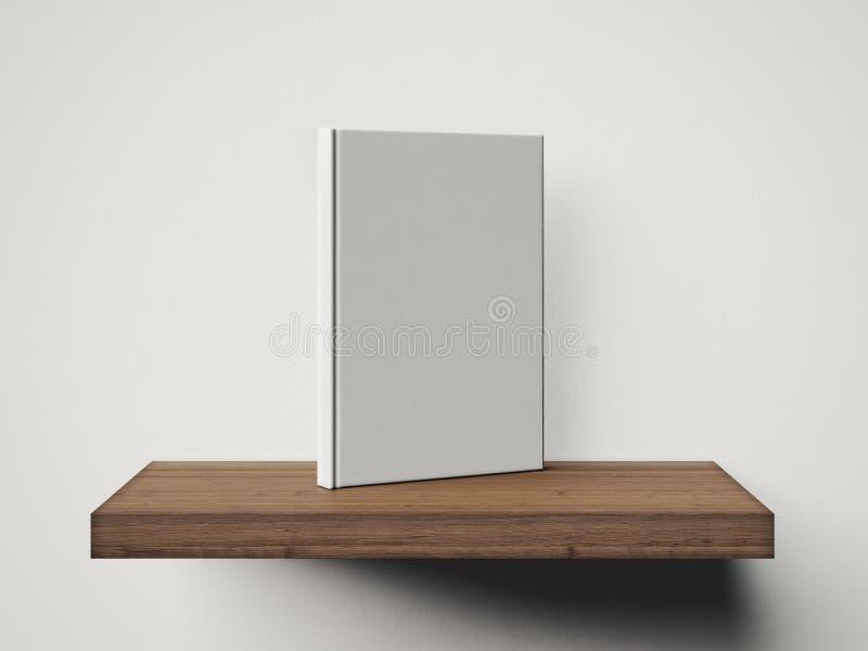 Fotografia pusta biała książka na drewnianej półce 3 d czynią zdjęcia stock