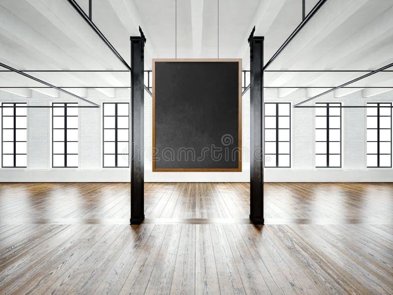 Fotografia pusty muzealny wnętrze w nowożytnym budynku Otwartej przestrzeni loft Opróżnia czarnego brezentowego obwieszenie na dr royalty ilustracja