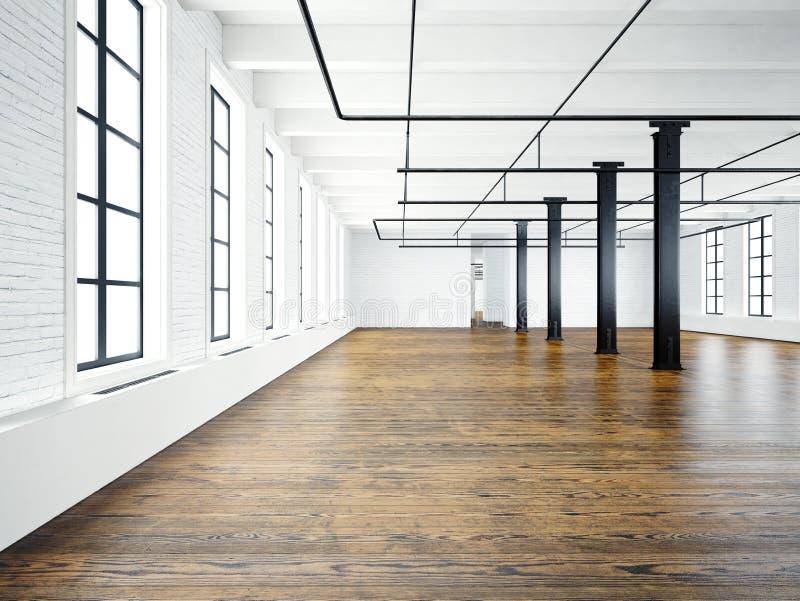 Fotografia pusty wnętrze w nowożytnym budynku Otwartej przestrzeni loft opróżnij ściany białe Drewniana podłoga, czarni promienie ilustracja wektor