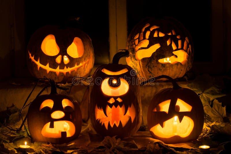 Fotografia skład od pięć bani dla Halloween obraz stock