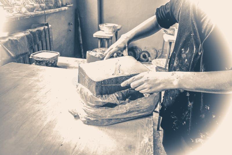 fotografia stary rocznik ciąć warstwy gliniani kawałki dla sculpting fotografia stock