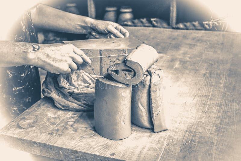 fotografia stary rocznik ciąć warstwy gliniani kawałki dla sculpting zdjęcie royalty free