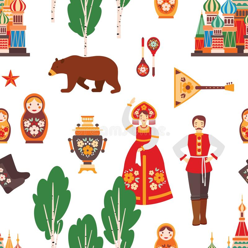 Fotografia vettoriale di pattern senza saldatura folk russa Albero di betulla, Cremlino di Mosca, bambola di nido, samovar e bala royalty illustrazione gratis